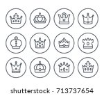 crowns line icons on white | Shutterstock .eps vector #713737654