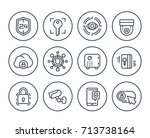 security line icons on white ... | Shutterstock .eps vector #713738164