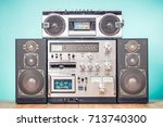 retro outdated hi fi stereo... | Shutterstock . vector #713740300