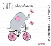 elephant on bicycle vector... | Shutterstock .eps vector #713740474
