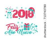 feliz ano nuevo   happy new... | Shutterstock .eps vector #713743780