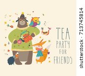 tea party with cute animals | Shutterstock .eps vector #713745814