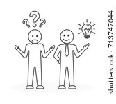 idea with questions. line art.... | Shutterstock . vector #713747044