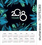 vector calendar 2018 with... | Shutterstock .eps vector #713751283