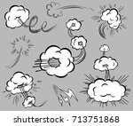 set of speed elements in the... | Shutterstock .eps vector #713751868