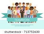 social group on the work.... | Shutterstock .eps vector #713752630