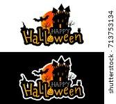 vector halloween stickers.... | Shutterstock .eps vector #713753134