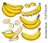vector set of colored bananas.... | Shutterstock .eps vector #713753254