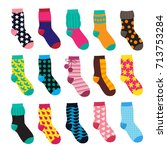 socks in cartoon style.... | Shutterstock .eps vector #713753284