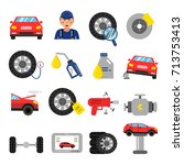 automobile parts. wheels and... | Shutterstock .eps vector #713753413