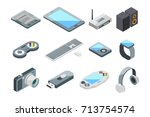 different electronic gadgets... | Shutterstock .eps vector #713754574