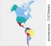 map of south america and north... | Shutterstock .eps vector #713754664