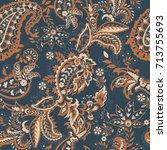 paisley vector seamless pattern.... | Shutterstock .eps vector #713755693
