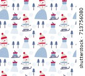 seamless vector pattern with... | Shutterstock .eps vector #713756080