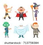 halloween costumes for kids.... | Shutterstock .eps vector #713758384