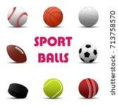 sport balls set. vector... | Shutterstock .eps vector #713758570