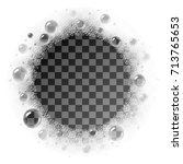 vector soap foam circle frame... | Shutterstock .eps vector #713765653