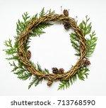 festive wreath of grape vines... | Shutterstock . vector #713768590