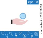 hand and time icon  outline eps ...