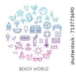 raster set of beach modern flat ... | Shutterstock . vector #713773690