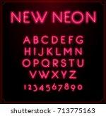 neon font type alphabet.... | Shutterstock . vector #713775163