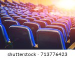 Empty Blue Chairs At Cinema Or...