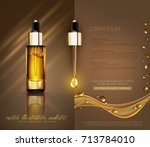 vector glass vial with... | Shutterstock .eps vector #713784010