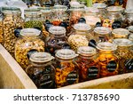 dried fruits in glass jars for... | Shutterstock . vector #713785690