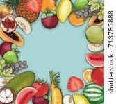 vector hand drawn fruit frame... | Shutterstock .eps vector #713785888