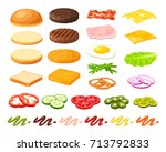 set of ingredients for burger... | Shutterstock .eps vector #713792833