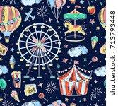 seamless pattern amusement park ... | Shutterstock .eps vector #713793448