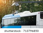 electric bus at a stop is...   Shutterstock . vector #713796850