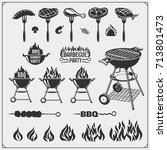 bbq and grill labels set.... | Shutterstock .eps vector #713801473