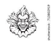 clown adult coloring page | Shutterstock .eps vector #713802919