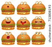 cute set of emoji cartoon... | Shutterstock .eps vector #713808193