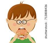 cute little nerd boy with...   Shutterstock .eps vector #713808436