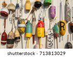 Colorful Lobster Buoys On The...