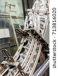 upward conveyor line carrying... | Shutterstock . vector #713816020
