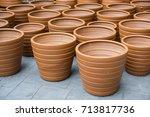 empty ceramic brown flower pots   Shutterstock . vector #713817736