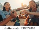 close up shot of friends... | Shutterstock . vector #713822008