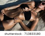 close up beautiful luxury slim...   Shutterstock . vector #713833180