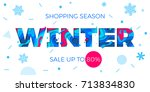 winter sale shopping discount... | Shutterstock .eps vector #713834830
