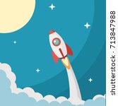 rocket icon vector ... | Shutterstock .eps vector #713847988