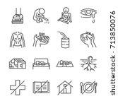 destitution line icon set.... | Shutterstock .eps vector #713850076