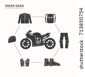 biker gear icon  protection... | Shutterstock .eps vector #713850754