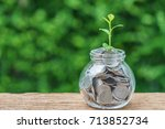 selective focus on green sprout ...   Shutterstock . vector #713852734