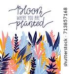 tropical leaves. vector frame... | Shutterstock .eps vector #713857168