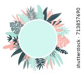 vector round frame with ... | Shutterstock .eps vector #713857690