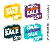set autumn sale  bubble banners ... | Shutterstock .eps vector #713862379