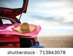 summer car and sea  | Shutterstock . vector #713863078